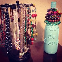 Jewelry organizing ideas! My DIY wine bottle bracelet holder. Hand towel holder for necklaces!