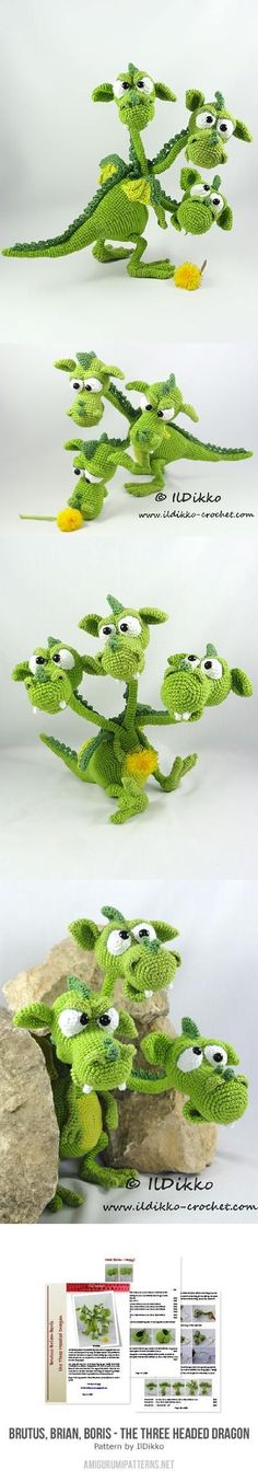 Brutus Brian Boris The Three Headed Dragon Amigurumi Pattern