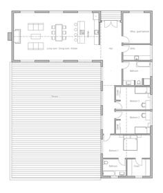 L-shaped basic design, add rooms as needed, use the inside of the L as a deck to protect from the wind. L-shaped basic design, add rooms as needed, use the inside of the L as a deck to protect from the wind. House Layout Plans, New House Plans, Modern House Plans, Small House Plans, House Layouts, House Floor Plans, The Plan, How To Plan, Building A Container Home