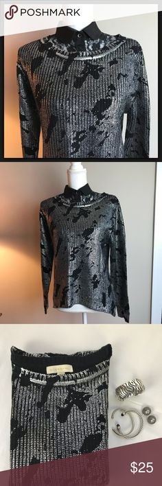 NWOT Nicki Minaj Black/Silver Sweater size M NWOT never been worn or out of my closet, poor thing. Fabulous silver coated black knitted sweater, lightweight, slight high-low thing going on which makes it look fab with black leggings. With silver jewelry it is gorgeous. See last 2 pics for measurements and details. Nicki Minaj Sweaters Crew & Scoop Necks