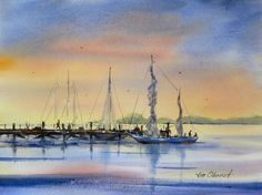 """Evening on the Pier - 11x15"""" original watercolor painting by Jim Oberst - $200 incl. U.S. shipping."""