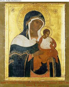 Icon of the Mother of God of Konevitsa in the main church of Valamo monastery, Finnland.  It is considered the most valuable spiritual treasure of the Orthodox Church of Finland, tradition holds that it was brought from Mount Athos in Greece by the founder of Konevitsa monastery, the monk Arseni, in the 14th century.