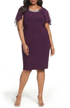 Free shipping and returns on Marina Embellished Chiffon Overlay Sheath Dress (Plus Size) at Nordstrom.com. Highlighting the face with a jeweled neckline, a matte-jersey cocktail dress spins to a dramatic exit with an overlay of sheer chiffon fluttering down the back.