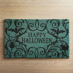 Happy Halloween Teal Doormat - Check it out now at Pier 1 Imports! Halloween Home Decor, Halloween House, Holidays Halloween, Halloween Crafts, Halloween Decorations, Halloween Party, Classy Halloween, Halloween Magic, Party