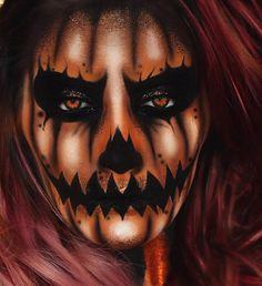 Halloween Pumpkin Makeup, Amazing Halloween Makeup, Halloween Eyes, Halloween Looks, Horror Makeup, Scary Makeup, Helloween Make Up, Halloween Karneval, Fantasias Halloween