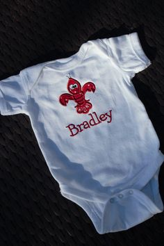 Crawfish Fleur de Lis Baby Clothes Outfit by katiekomo on Etsy, $15.50
