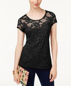INC International Concepts Lace Illusion Top, Created for Macy's $25.93 Elegant lace lends rich, romantic appeal to this gorgeous crew-neck top from INC International Concepts.