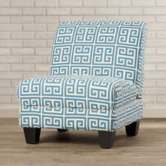 Blue Key Pattern Slipper Chair from Wayfair Canada Elegant and stylish, this  slipper chair is a great piece of furniture. It can be used in your living room, study, etc., and features a modern style that accentuates its overall appeal and allows it to blend in with a number of home décor styles.