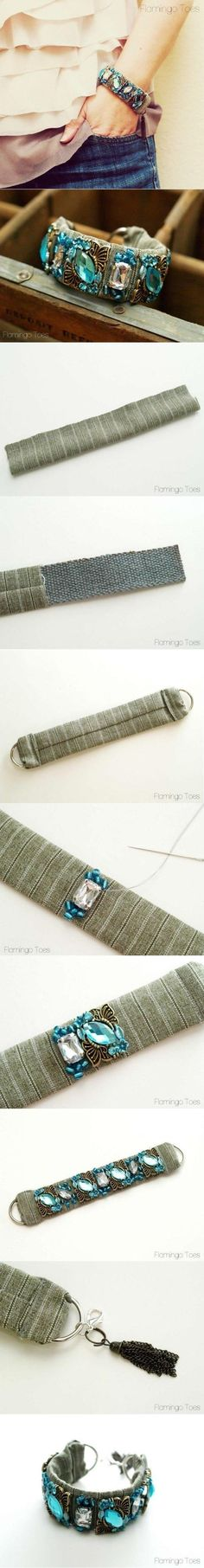DIY Beautiful Handmade Wristband w/fabric base. #Beading #Jewelry #Tutorials