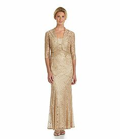 KM Collections 2Piece Long Shimmer Lace Jacket Dress #Dillards