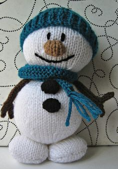 Mr snowman knitting pattern. I don't knit, but this guy makes me smile!