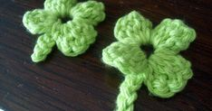 Here is a cute little shamrock free crochet pattern for you.  This would be good for an applique, pin, or some hair clips for little girls :...