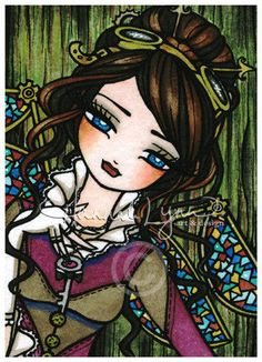 Steampunk Stained Glass Wings Fairy 5x7 Fantasy Art Painting Print Hannah Lynn | eBay