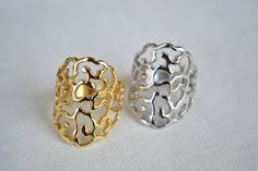 Filigree ring Sterling silver ring Gold Ring Rose by SoCoolCharms Sterling Silver Rings, Gold Rings, Party Rings, Filigree Ring, Birthday Gifts, Charms, Rose Gold, Stud Earrings, Elegant