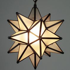 small aged tin frosted glass moravian star light 10 inch