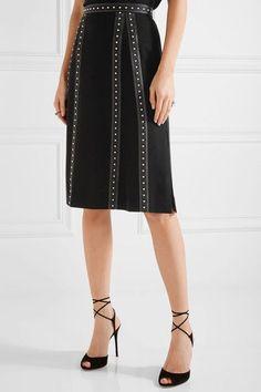 Altuzarra - Steele Studded Satin-trimmed Crepe Skirt - Black - FR44