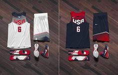 The U.S. home whites and road red-and-blues. (Image via Nike)