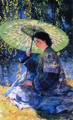 // Painting of the Day: #15 of 365 // 'The Green Parasol' (1911) by Guy Rose (1867-1925). Oil on canvas. 48.26 x 78.74 cm (19 x 31 in). Private collection. // Found by @RandomMagicTour (https://twitter.com/randommagictour) - Sasha Soren