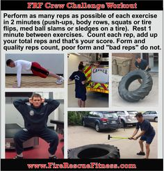 Great Crew Total Body Challenge Workout for the Firehouse (or any gym). Here is a great assessment and/ or workout to challenge your entire body. The workout does not require a lot of equipment so… Firefighter Memes, Firefighter Workout, American Firefighter, Firefighter Training, Tire Workout, Gym Workout Tips, Workout Challenge, No Equipment Workout, Workouts