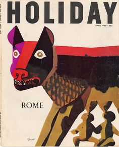 Holiday was a travel magazine published by Triple A from 1928 to 1945, and by the Curtis Publishing Company until 1977. Rome, April 1960. Illustration: George Giusti