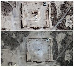 2.9.15 - A composite picture shows the site of the Temple of Bel in Palmyra, Syria, before and after its destruction by Isis.