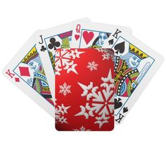 Red & White Christmas Snowflakes Playing Cards.