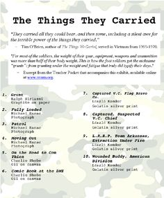 the things they carried example for final project a single  the things they carried from the national veterans art museum in chicago ap englishessay topicsart