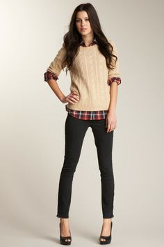 Cable knit, plaid, skinnies