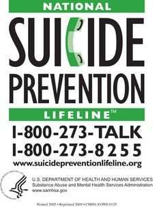 National Suicide Prevention Lifeline is the national center which will direct individuals to local crisis assistance