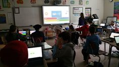 6th graders practicing their math skills using @getkahoot. There is some serious excitement in this room.#byrampride