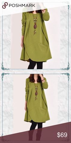 "🌿🍂Autumn Tunic Dress in Green 🍂Autumn Dress or Long Tunic in Green             🌻simple & stylish A-line with asymmetric pocket - wear alone or as shown with leggings on colder days.                                                              🌻see long gemstone and other necklaces in my closet for a complimenting match (-& that gives a bundle discount too😊)                             🌻laying flat: length = 32"" bust = 18 arm length = 23 1/2"" shoulder seam to seam = 14 1/2""…"