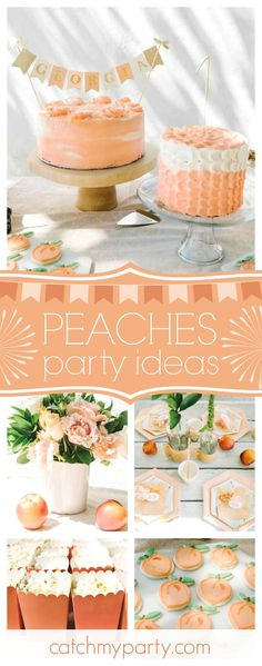 Don't miss this stunning 'Sweet as a Georgia Peach' birthday party! The cakes are gorgeous!! See more party ideas and share yours CatchMyParty.com
