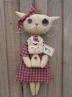 "Primitive Country Kitty Cat Doll with Kitten Burgundy Rusty Tag Lace 14"" OOAK!"