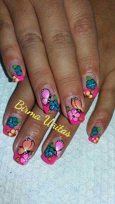 Luv Nails, Pretty Nails, Rodeo Nails, Tropical Nail Art, Butterfly Nail Art, Finger Nail Art, Beautiful Nail Art, Nail Arts, Manicure And Pedicure