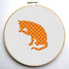 Silhouette Cat Modern Cross Stitch Pattern door CrossStitchForYou