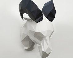 Paper bear Bear sculpture Polygon bear Head bear by CeladonCraft
