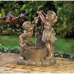 Fun And Play Garden Water Fountain - What's more refreshing than a cool drink on a hot day? Beautiful bronze-look Fun And Play Garden Water Fountain shows two children at innocent play in the garden. Weathered finish adds instant antique appeal!