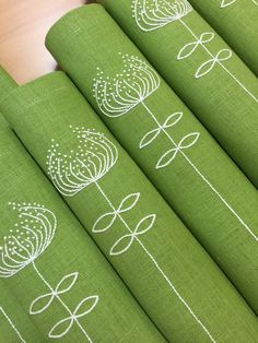Linen Placemats Embroidery Set of 6 Green Hand by Rokasdarbi