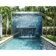 Alex Turco is an Italian design brand famous for its unique decorative panels, a perfectly balanced mix of photography and multimedia graphics, enriched by Backyard Pool Designs, Swimming Pool Designs, Swimming Pools, Backyard Pools, Fountain Design, Water Walls, Decorative Panels, Panel Art, Cool Pools