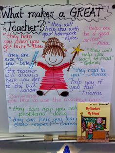 I did this with my first graders during the first week of school. We read the book My Teacher, My Friend and then created this group chart.