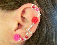 Non Pierced Ear Cuff  Roses and Berries  by ArianrhodWolfchild, $12.00