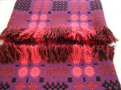 Stunning vintage Welsh wool tapestry blanket (carthen) in berry shades. | eBay