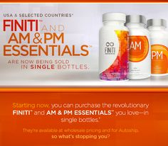 AM & PM Essentials™ These powerful dietary supplements effectively delay the symptoms of premature aging. AM Essentials™ contains energy-boosting nutrients that regulate mental clarity and focus. The PM Essentials™ formula balances and relaxes your body for a restful sleep. *60 caplets per bottle