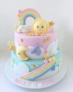 New Birthday Cake Rainbow Pastel 27 Ideas Fondant Cakes, Cupcake Cakes, Gateau Baby Shower, Baby Birthday Cakes, Baby Cakes, 1st Birthday Cake For Girls, Birthday Ideas, Birthday Recipes, Birthday Cards