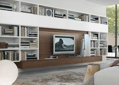 Moderne Wohnwand mit weißen Wandregalen und vielen Schubladen