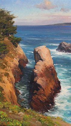 Point Lobos Coastline by Jesse Powell Oil ~ 16 x 20: