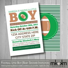 Football Baby Shower Invitation : Little Boy   Sports Theme   Boy Baby  Shower   Couples
