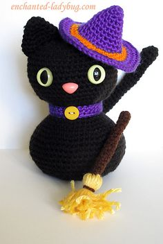 This sweet Amigurumi Halloween Black Cat will be a wonderful decoration for…