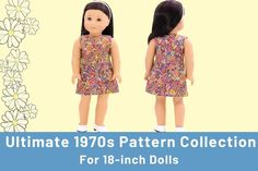 Dress Patterns For Dolls on Pixie Faire Custom American Girl Dolls, American Girl Clothes, Girl Doll Clothes, Doll Clothes Patterns, Doll Patterns, Clothing Patterns, Dress Patterns, American Girls, 70s Outfits