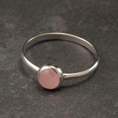 Rose Quartz Ring Sterling Silver Ring Pink Stone Ring by Artulia, $38.00